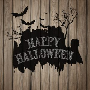 47390042 - happy halloween painted on wooden board, realistic vector illustration.